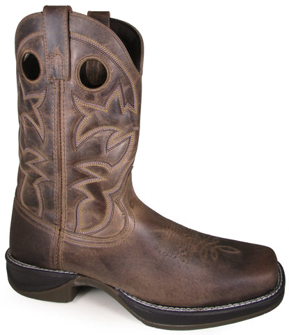 Smoky Mountain Mens Benton Wax Distress Brown Leather Cowboy Boots