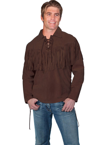 Scully Leather Mens Western Trapper L/S Fringe Shirt Chocolate