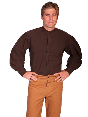 Scully RangeWear Mens Chocolate 100% Cotton Vintage L/S Full Cut Shirt