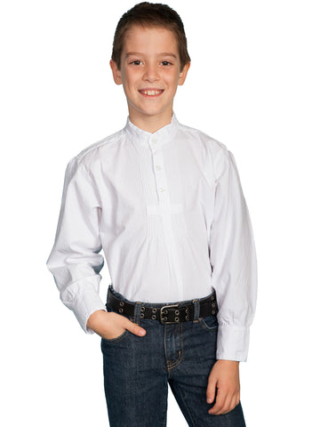 Scully Rangewear Boys White 100% Cotton L/S Pullover Pleated Front Shirt