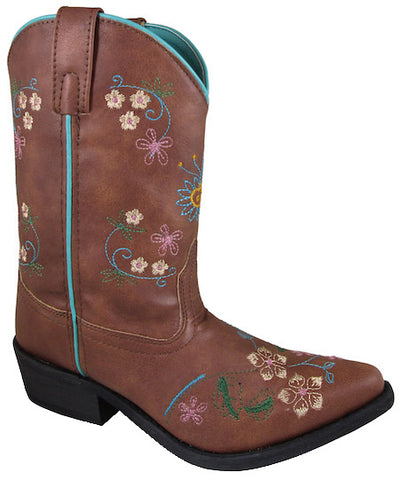 Smoky Mountain Childrens Girls Brown Faux Leather Cowboy Boots