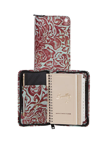 Scully Accessories Aloe New Tooled Leather Wirebound Zip Pocket Planner