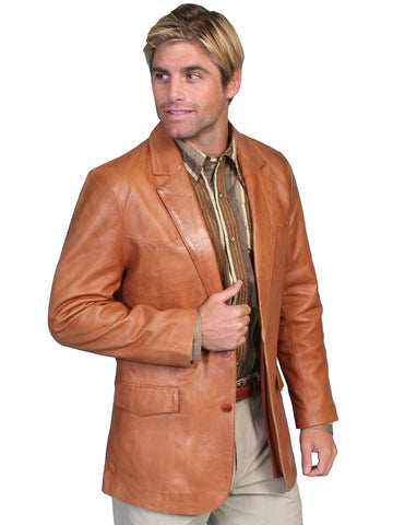 Scully Leather Mens Ranch Tan Lambskin Button Front Western Blazer