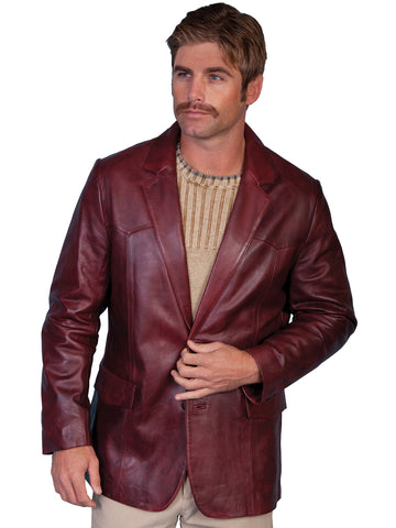 Scully Leather Mens Western Lambskin Blazer Black Cherry