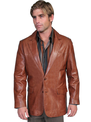 Scully Leather Mens Western Lambskin Blazer Antique Brown