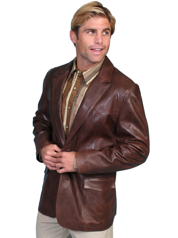 Scully Leather Mens Western Lambskin Blazer Chocolate