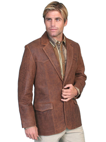 Scully Leather Mens Western Lambskin Blazer Brown