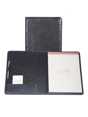 Scully Accessories Black Ostrich Leather Writing Pad Folder