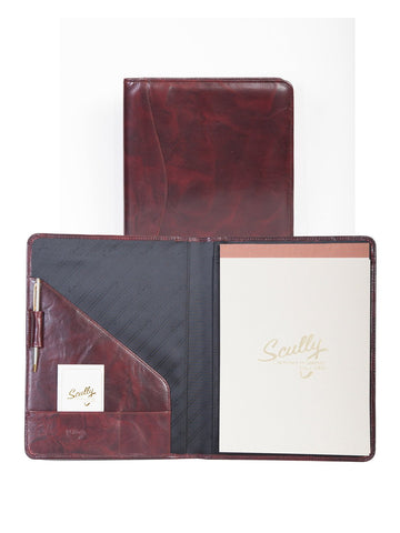 Scully Accessories Burgundy Italian Leather Writing Pad Folder