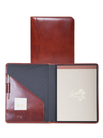 Scully Accessories Cognac Italian Leather Writing Pad Folder