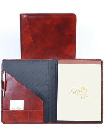 Scully Accessories Mahogany Italian Leather Writing Pad Folder