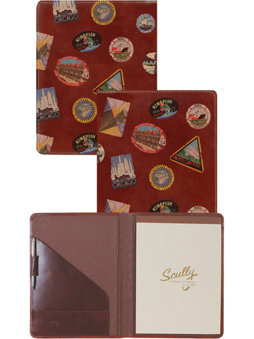 Scully Accessories Walnut Old Atlas/ Pony Leather Writing Pad Folder