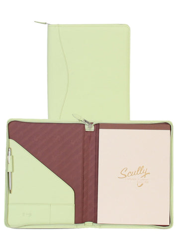 Scully Accessories Mint Soft Lamb Leather Zip Writing Pad
