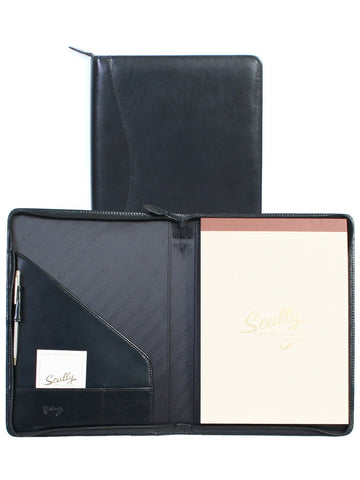 Scully Accessories Black Italian Leather Zip Writing Pad