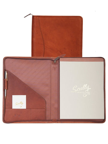 Scully Accessories Brown Soft Plonge Leather Zip Writing Pad