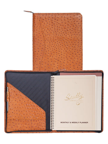 Scully Accessories Ant. Brn Ostrich Leather Wirebound Writing Pad