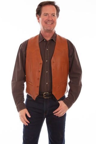 Scully Leather Mens Western Lambskin Button Front Vest Ranch Tan