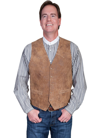 Scully Leather Mens Maple Lambskin Button Front Vest