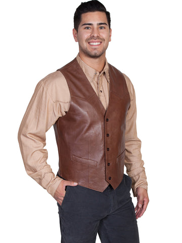 Scully Leather Mens Western Lambskin Button Front Vest Chocolate
