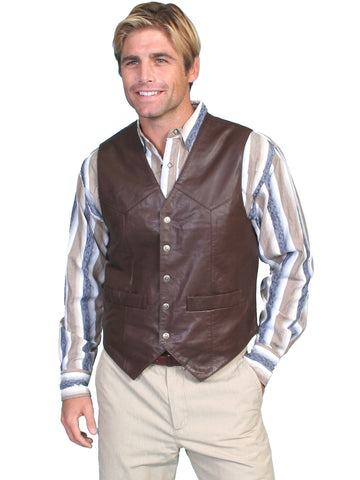 Scully Mens Brown Soft Lamb Western Snap Vest