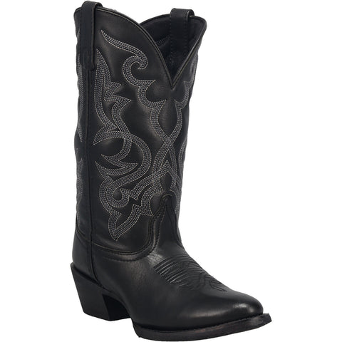 Laredo Womens Black Maddie Leather Cowboy Boots 11in Embroidered