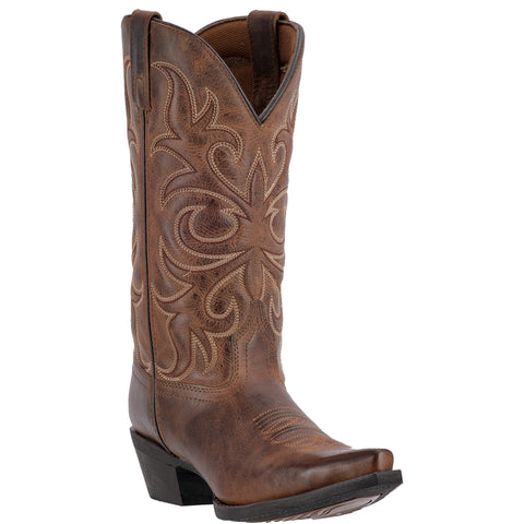 Laredo Womens Rust Dianna Leather Cowboy Boots 11in Embroidered