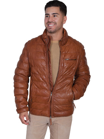 Scully Mens Cognac Lambskin Horizontal Ribbed Jacket