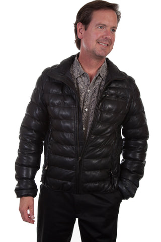 Scully Mens Black Leather Horizontal Ribbed Jacket