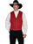 Scully Mens Wahmaker Classic Notched Lapel Vest Cinnabar Wool Blend