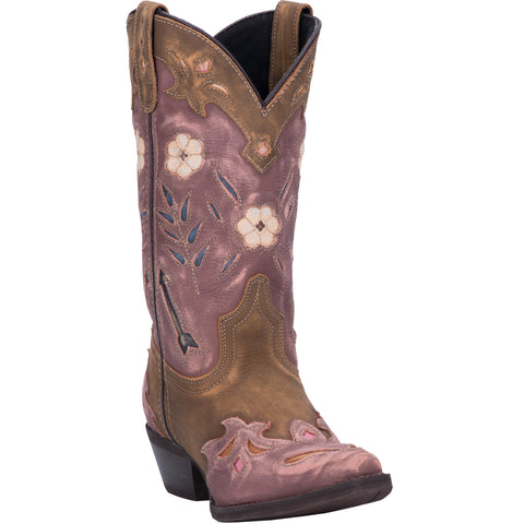 Laredo Womens Brown/Pink All Leather Miss Kate 11in Snip Toe Cowboy Boots