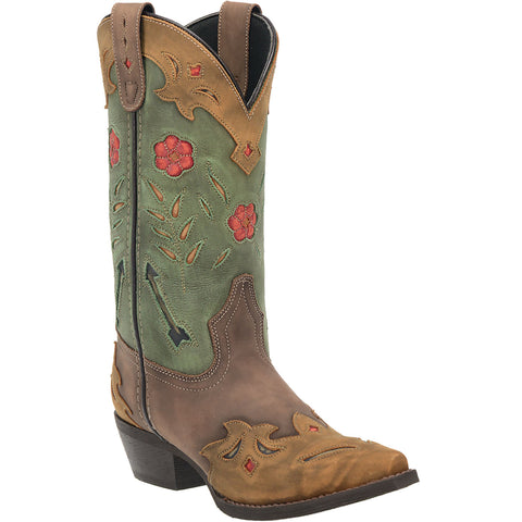 Laredo Womens Brown/Teal All Leather Miss Kate 11in Snip Toe Cowboy Boots