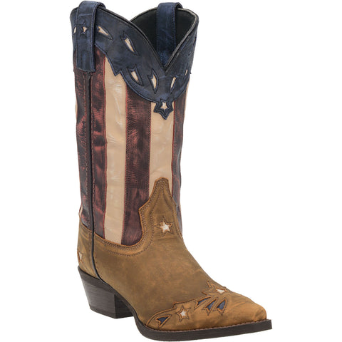 Laredo Womens Keyes Cowboy Boots Leather Tan/Multi