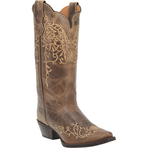 Laredo Womens Taupe Cowboy Boots Leather Snip Toe