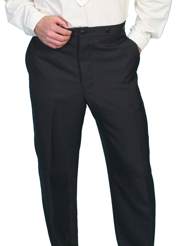 Scully Mens Wahmaker Special Occasion Button Fly Pants Black Poly Blend