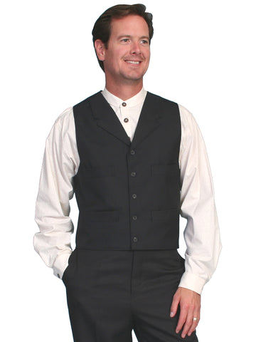 Scully Mens Wahmaker Tailored Notched Lapels Vest Black Poly Blend