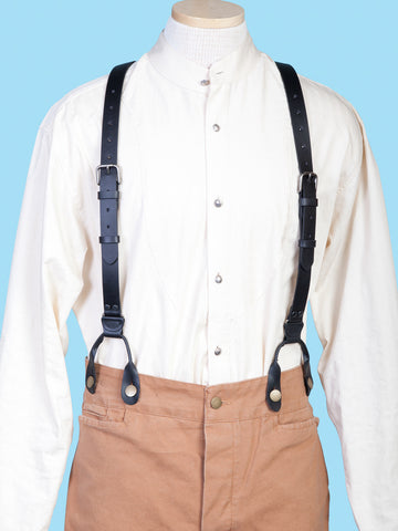 Scully Wahmaker Mens Black Leather Buckle USA Suspenders