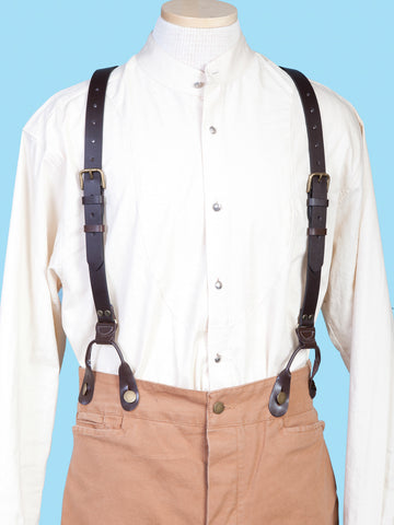Scully Wahmaker Mens Brown Leather Buckle USA Suspenders