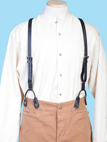 Scully Wahmaker Mens Black Leather USA Flat Braided Suspenders