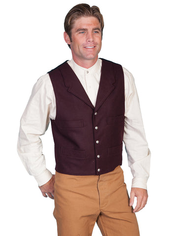 Scully Mens Wahmaker Classic Notched Lapels Vest Burgundy Poly Blend