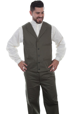 Wahmaker Mens Army 100% Cotton Herringbone Vest