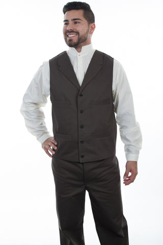 Wahmaker Mens Charcoal 100% Cotton Herringbone Vest