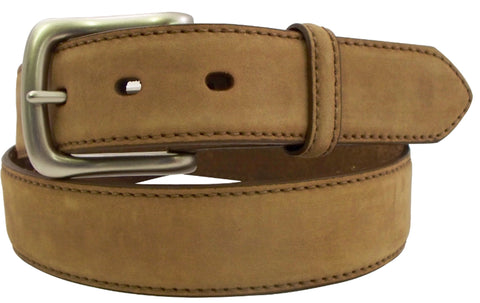 Danbury Mens Brown Leather Dull Nickel Belt