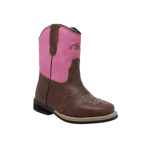 Tecs Toddlers Girls Pink 6in Side Zipper Western Cowboy Boots PU