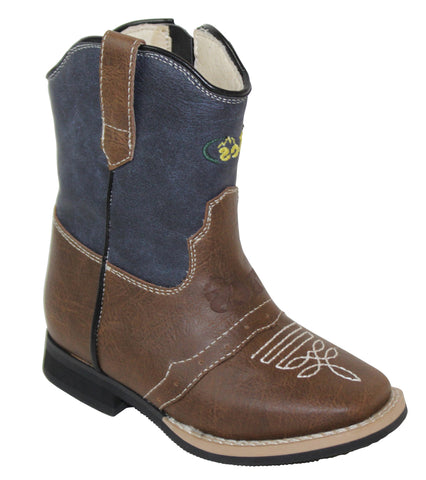 Tecs Toddlers Boys Navy Blue 6in Side Zipper Western Cowboy Boots PU