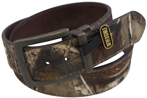 Realtree Mens Realtree/Brown Canvas/Leather Reversible Belt