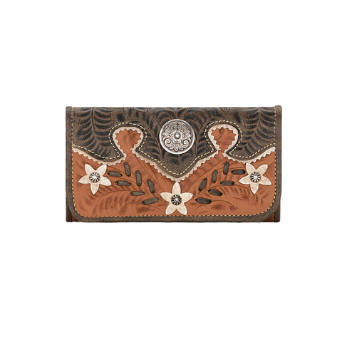 American West Desert Wildflower Tri-Fold Wallet Golden Tan Leather