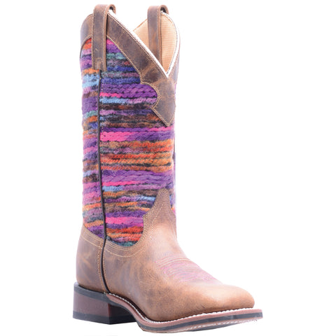 Laredo Womens Tan/Multi Cowboy Boots Leather Cowboy Boots Square Toe