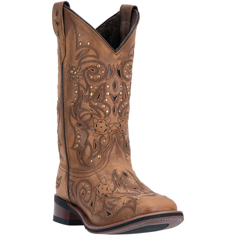 Laredo Womens Brown Janie Leather Cowboy Boots 11in Studded