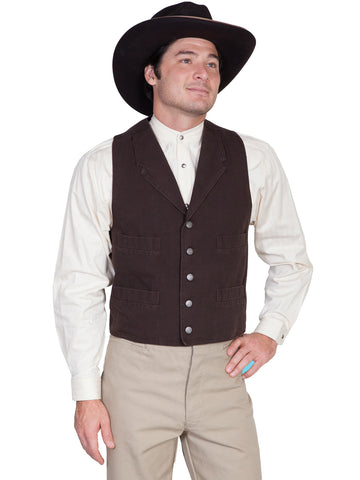 Scully Wahmaker Mens Walnut 100% Cotton USA Big Duckin Canvas Vest