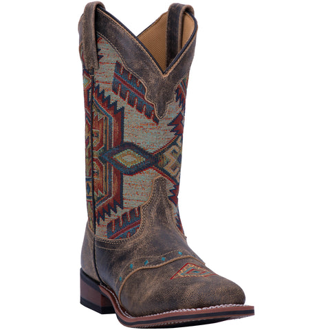 Laredo Womens Brown Scout Leather Cowboy Boots 11in Southwestern